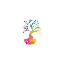 Smart Grow Logo Design. Plant Growing Inside The Brain Icon.