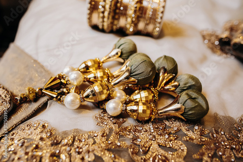 Golden precious details of a indian bridal embroidery outfit Canvas Print