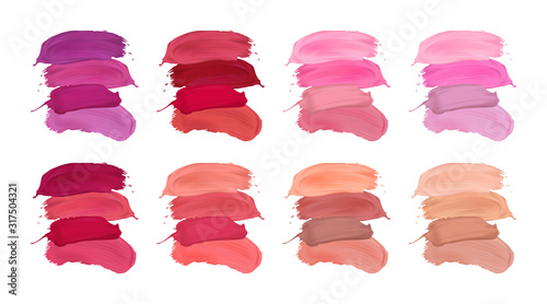 Fotografiet Vector set of lipstick strokes isolated on a white background