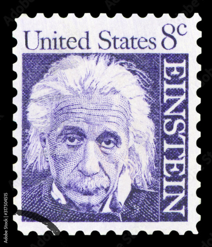 UNITED STATES OF AMERICA - CIRCA 1965: A postage stamp with a portrait of famous physicist Albert Einstein (1879-1955), commemorating the 10th year since his death, printed in America, circa 1965 Wallpaper Mural