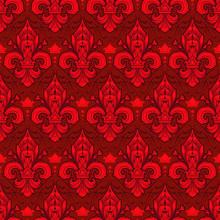 Seamlessly Tiling Red Fleur-de...