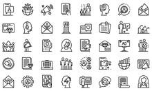 PR Specialist Icons Set. Outli...
