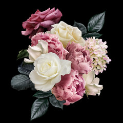 Fototapeta Peonie Pink peony, white roses, hydrangea isolated on black background. Floral arrangement, bouquet of garden flowers. Can be used for wedding invitations, greeting card.