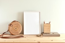 White Blank Frame Mockup For P...