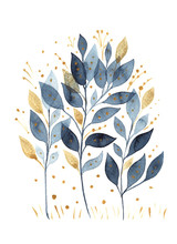 Hand-drawn Watercolor Drawing Of Branches With Blue And Gold Leaves Isolated On A White Background. For Greetings, Postcards, Printing On T-shirts, Textiles, Wedding Decor, Packaging.
