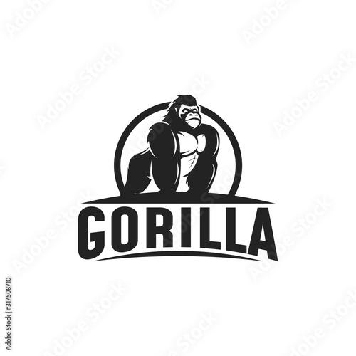 Gorilla logo design illustration, Gorilla vector Wallpaper Mural