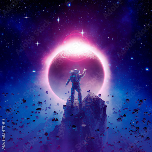 Foto The final eclipse / 3D illustration of science fiction scene showing astronaut v
