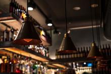 Vintage Dark Lamps Hanging On ...