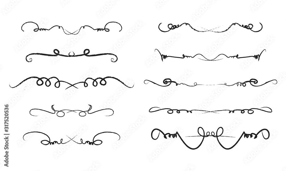 Fototapeta stroke brush smooth curve straight swirly decorative Lines v2