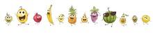 Funny Cartoon Fruits. Set Vect...