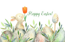 Watercolor Cute Easter Border ...