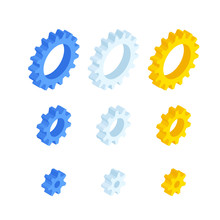 Isometric Ste Of Gears And Cogs Isolated On White.