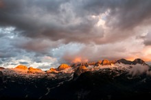 Sunset On Mount Canin From The Montasio Plateau, Julian Alps, Friuli Venezia Giulia, Italy, Europe