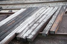 Some Wooden On The Train Rail ...