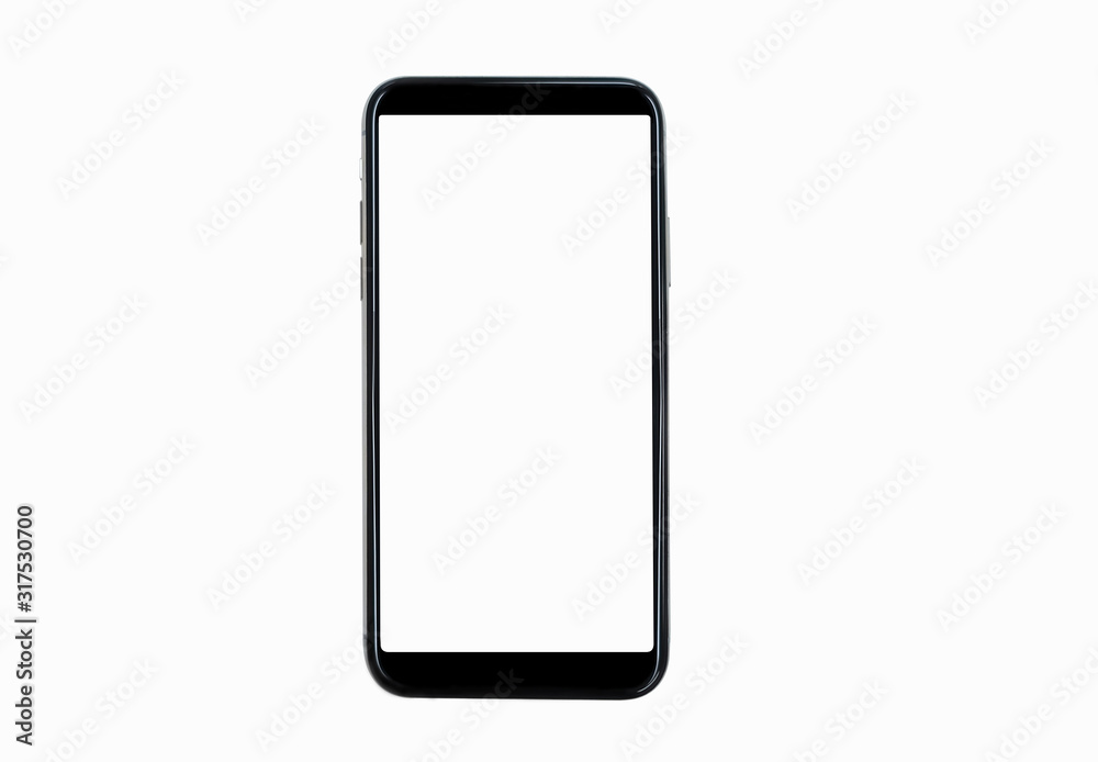 Fototapeta Black smartphone with blank screen isolated on white background. Mockup to showcasing mobile web-site design or screenshots your applications  - Clipping Path