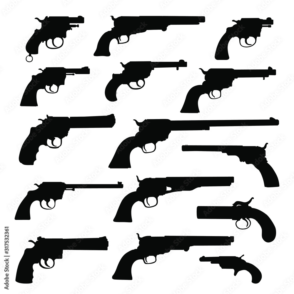 Fototapeta Set of various guns. Retro Weapon. Vector silhouettes isolated on white