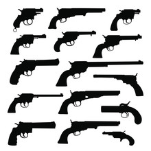 Set Of Various Guns. Retro Wea...