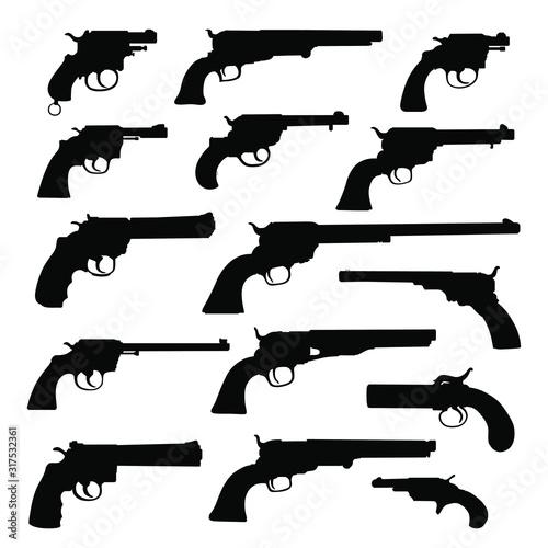 Photo Set of various guns
