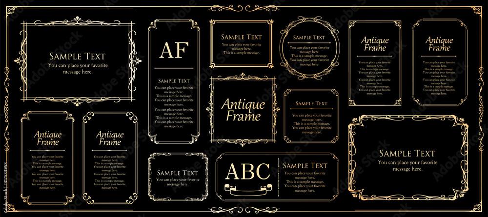 Fototapeta 美しいビンテージ調のフレームデザインセット ウエディングカード アンティークな素材