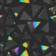 Abstract Triangle Seamless Pattern With Colored Grunge Texture.