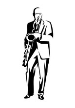 Performing Jazzman Black And White Vector Outline - Standing Musician Playing Saxophone Simple Design