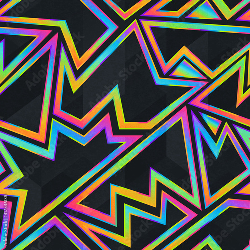 Bright neon geometric seamless pattern