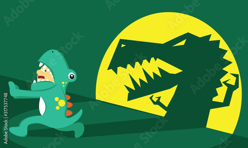 Illustration vector graphic of boy cartoon character wear dinosaur costume, afraid, fear and running from his own shadow Canvas Print