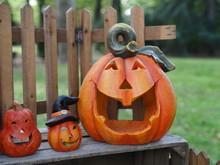 Halloween Pumpkins In Ceramic.