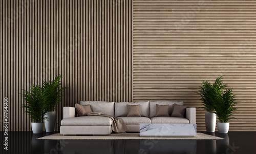 The loft living room interior design and wooden wall background Slika na platnu