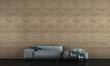 Leinwanddruck Bild - modern loft living room interior design and wooden tile wall background
