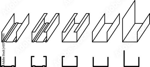 Obraz steel profiles icon, Profile for plasterboard, steel profiles for repair, plasterboard fastening - fototapety do salonu