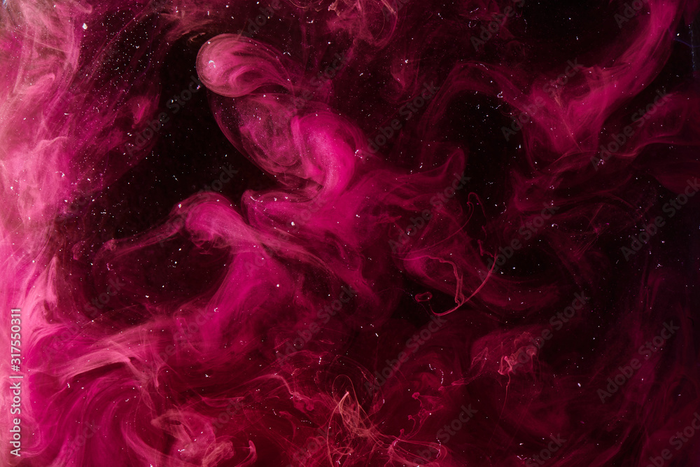 Fototapeta Pink universe abstract background, swirling galaxy smoke, alchemy dance of love and passion. Mysterious esoteric outer space, exoplanet sky