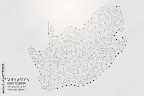 Fotografie, Obraz A map of South Africa consisting of 3D triangles, lines, points, and connections