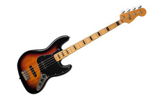 Full Body Of 4 String Jazz Bass Guitar In Sunburst Color Isolated On White Background.