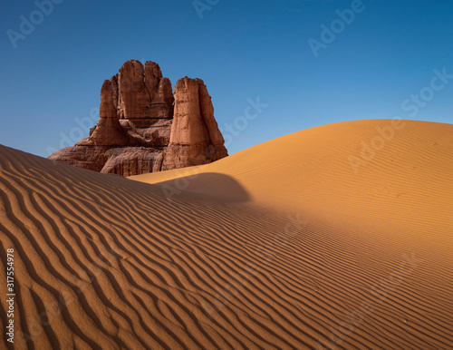Dune formation in arid desert Fototapeta