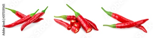 Fototapeta red hot chili peppers isolated on white background. Set or collection obraz
