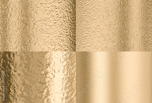 gold hammered effect background, four different solutions Fototapet