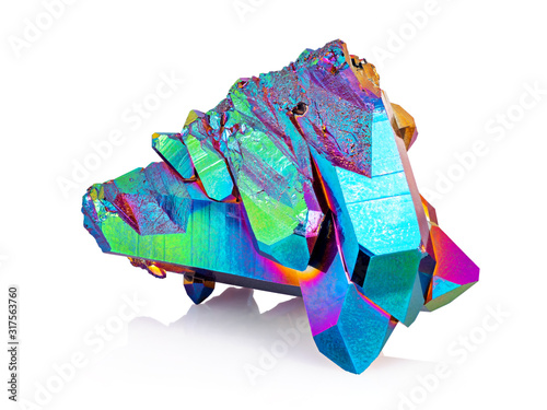 An extreme sharp image of the Titanium rainbow aura quartz crystal cluster stone taken with the macro lens Wallpaper Mural