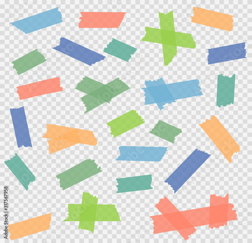 Cuadros en Lienzo Set of adhesive tape pieces on background. Vector illustration