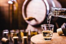 Glass Of Golden Rum, With Bott...