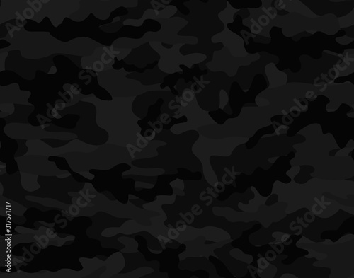 Fotomural Black camouflage seamless vector pattern.