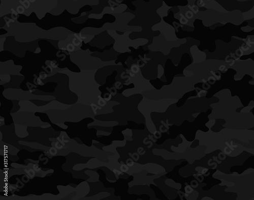 Cuadros en Lienzo Black camouflage seamless vector pattern.