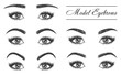 Female eyebrows, eyes and lashes, makeup styles