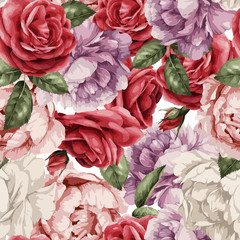 Fototapeta Do sypialni Seamless floral pattern with roses, watercolor. Vector illustration.