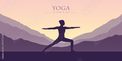 Fototapeta girl makes yoga mountain view purple landscape vector illustration EPS10