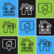 Set line Home symbol, Map pointer with house and House with dollar symbol icon. Vector