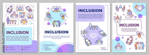 Obraz Inclusion brochure template. Disabled aid. Socialization, education. Flyer, booklet, leaflet print, cover design with linear icons. Vector layouts for magazines, annual reports, advertising posters - fototapety do salonu