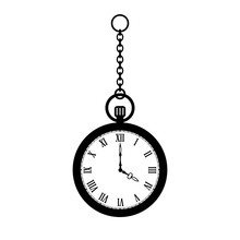 Pocket Watch With Chain Vector Icon