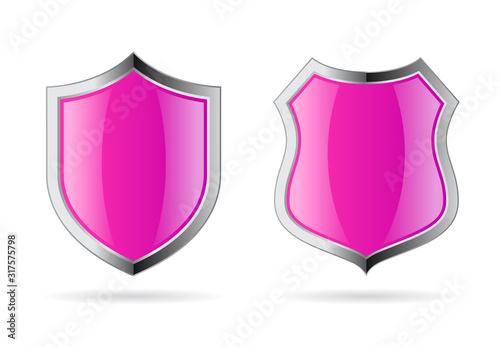 Fotografie, Obraz Glossy pink shields vector icon