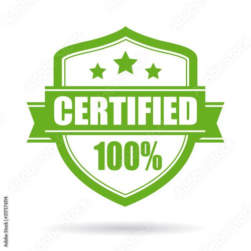 Fototapeta Green certified vector emblem
